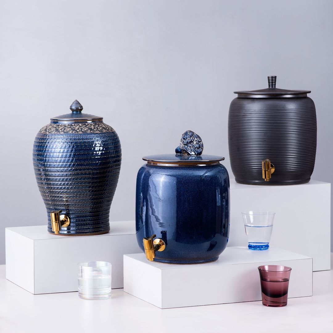 water/beverage dispenses in metal blue colour