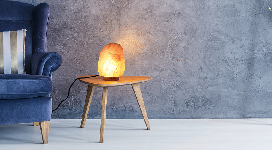 pink salt lamp by haveraw placed on a table