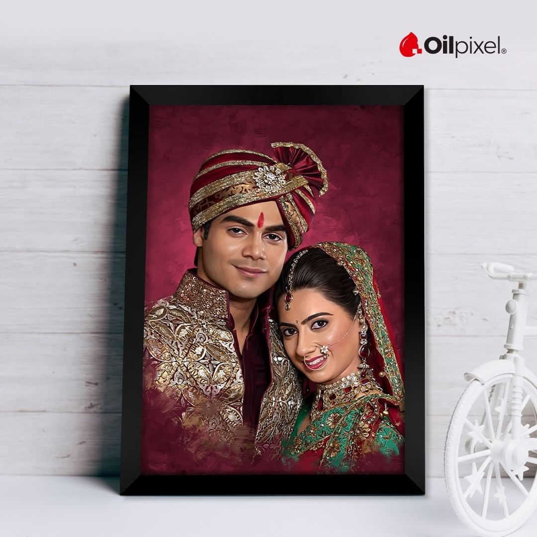 digital oil painting of a couple on a maroon background for home decor